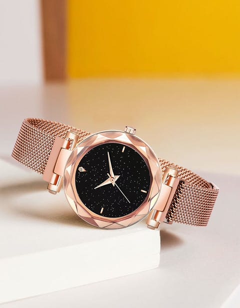 Buy Wise Rose Gold Magnetic Chain Analogue Watch For Women Online - Nakshika